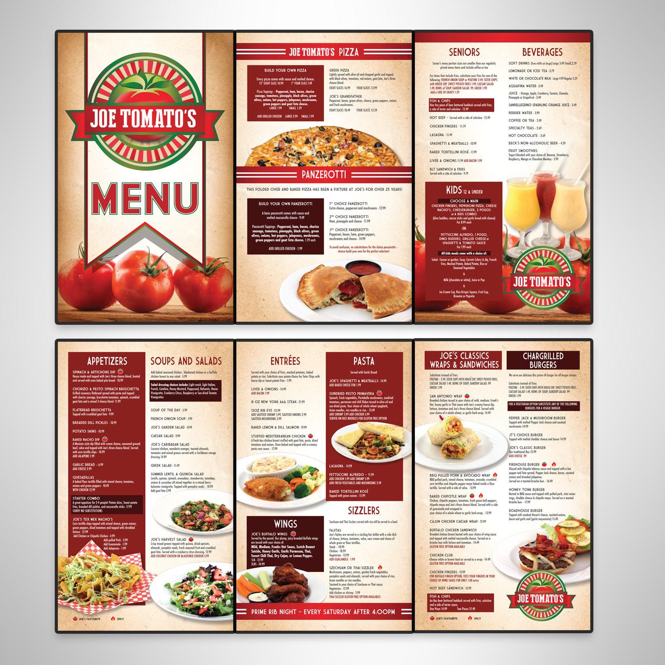 Joe Tomato's Menu