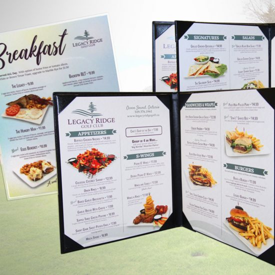 Legacy Ridge Golf Club Menus