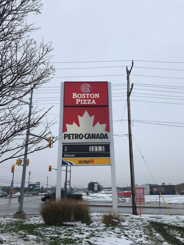 Owen Sound Boston Pizza Signage